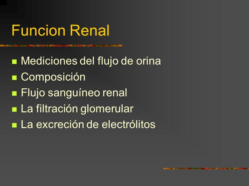 Funcion Renal Mediciones del flujo de orina Composición Flujo sanguíneo renal La filtración glomerular La excreción de electrólitos