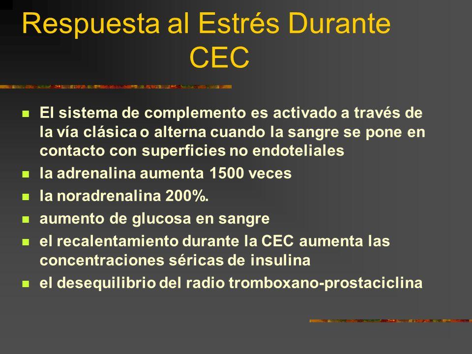 Respuesta al Estrés Durante CEC El sistema de complemento es activado a través de la vía clásica o alterna cuando la sangre se pone en contacto con su