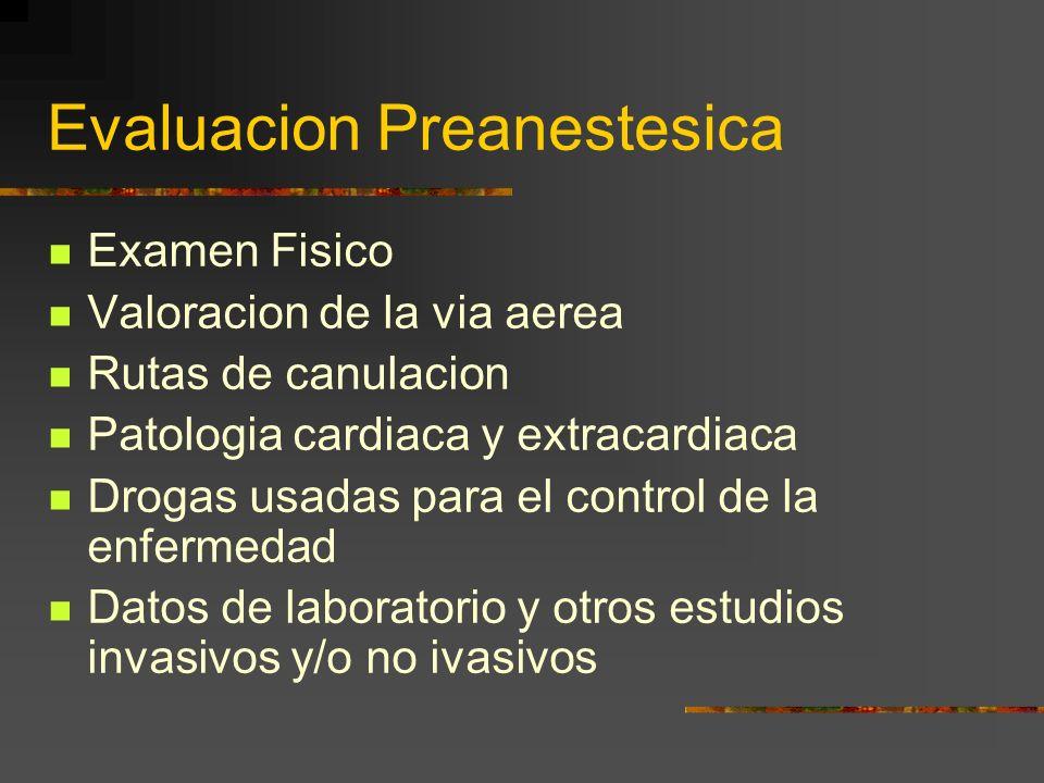 Evaluacion Preanestesica Examen Fisico Valoracion de la via aerea Rutas de canulacion Patologia cardiaca y extracardiaca Drogas usadas para el control de la enfermedad Datos de laboratorio y otros estudios invasivos y/o no ivasivos