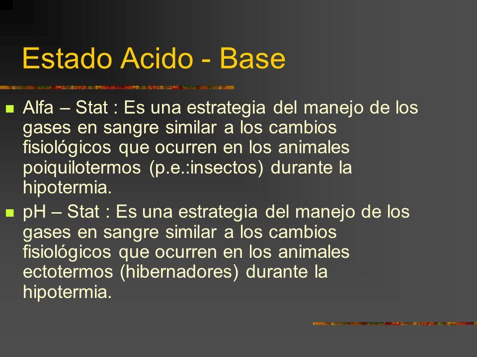 Estado Acido - Base Alfa – Stat : Es una estrategia del manejo de los gases en sangre similar a los cambios fisiológicos que ocurren en los animales poiquilotermos (p.e.:insectos) durante la hipotermia.