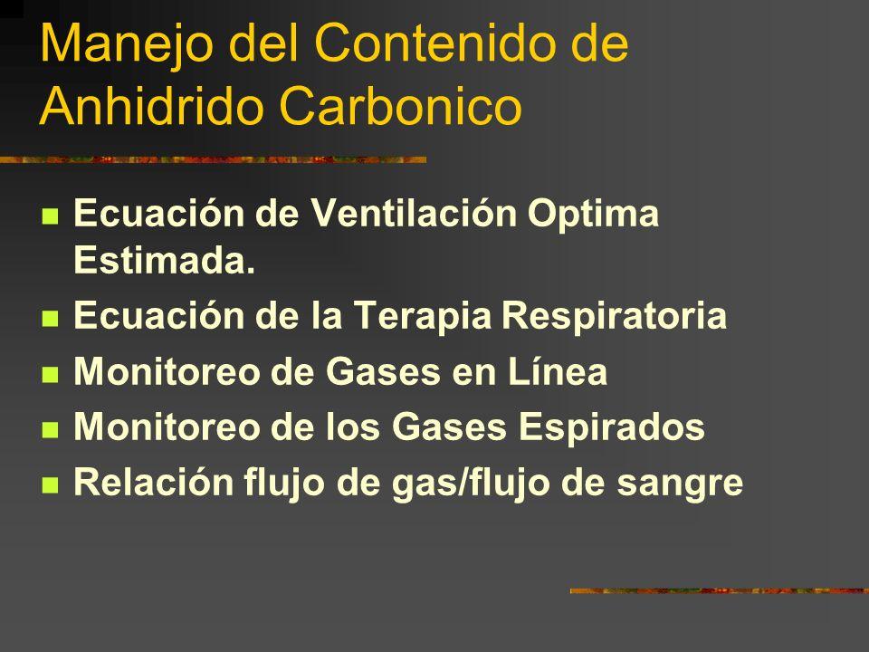 Manejo del Contenido de Anhidrido Carbonico Ecuación de Ventilación Optima Estimada. Ecuación de la Terapia Respiratoria Monitoreo de Gases en Línea M