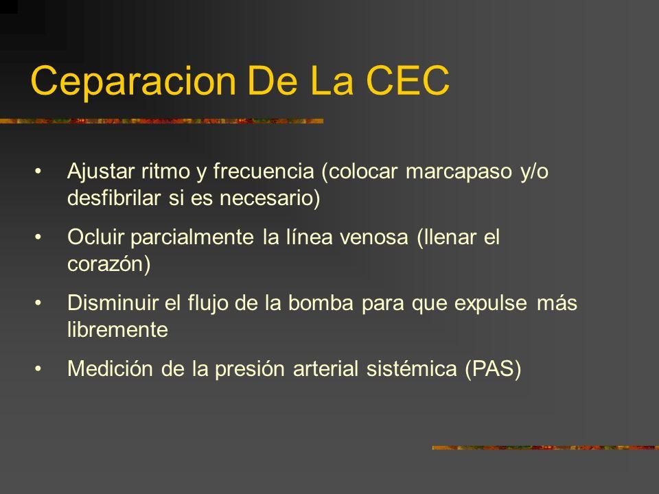 Ceparacion De La CEC Ajustar ritmo y frecuencia (colocar marcapaso y/o desfibrilar si es necesario) Ocluir parcialmente la línea venosa (llenar el cor