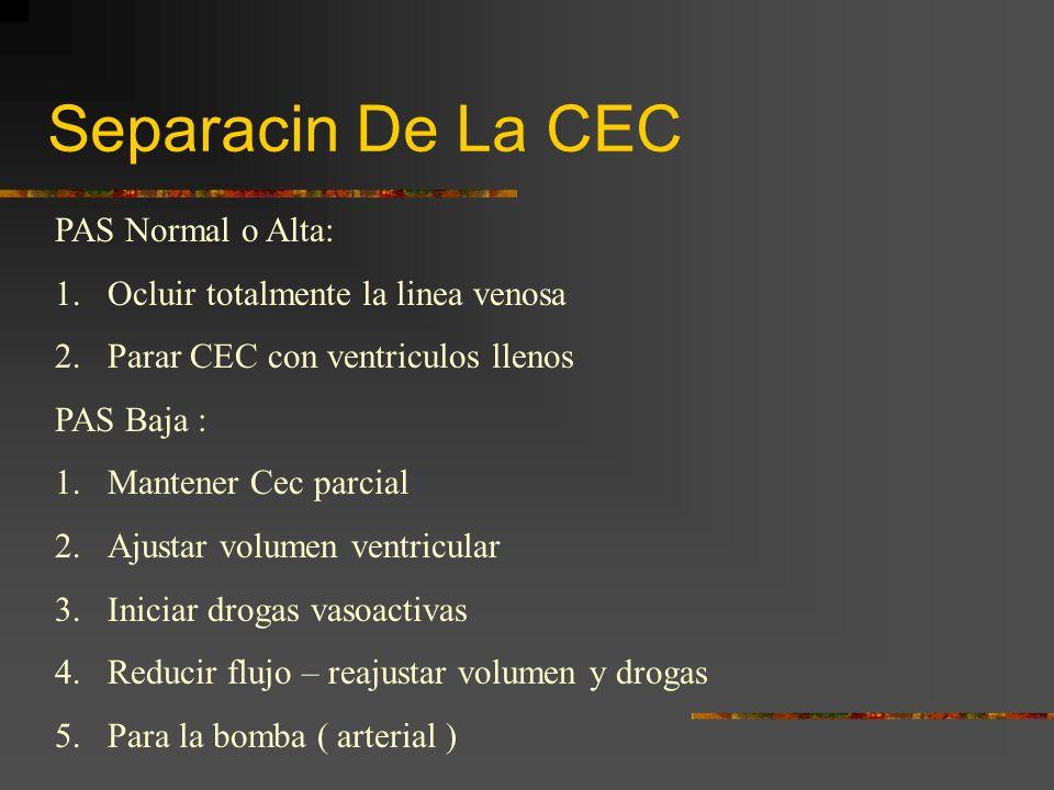 Separacin De La CEC PAS Normal o Alta: 1.Ocluir totalmente la linea venosa 2.Parar CEC con ventriculos llenos PAS Baja : 1.Mantener Cec parcial 2.Ajus