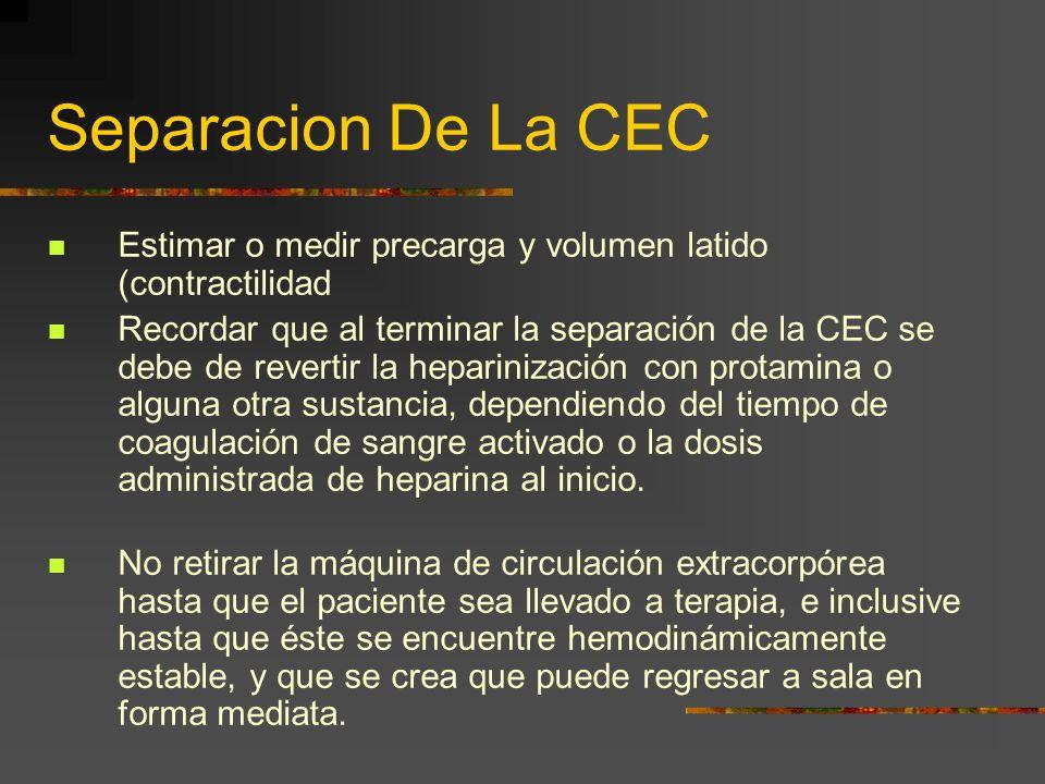Separacion De La CEC Estimar o medir precarga y volumen latido (contractilidad Recordar que al terminar la separación de la CEC se debe de revertir la
