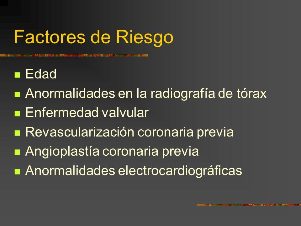 Factores de Riesgo Edad Anormalidades en la radiografía de tórax Enfermedad valvular Revascularización coronaria previa Angioplastía coronaria previa Anormalidades electrocardiográficas
