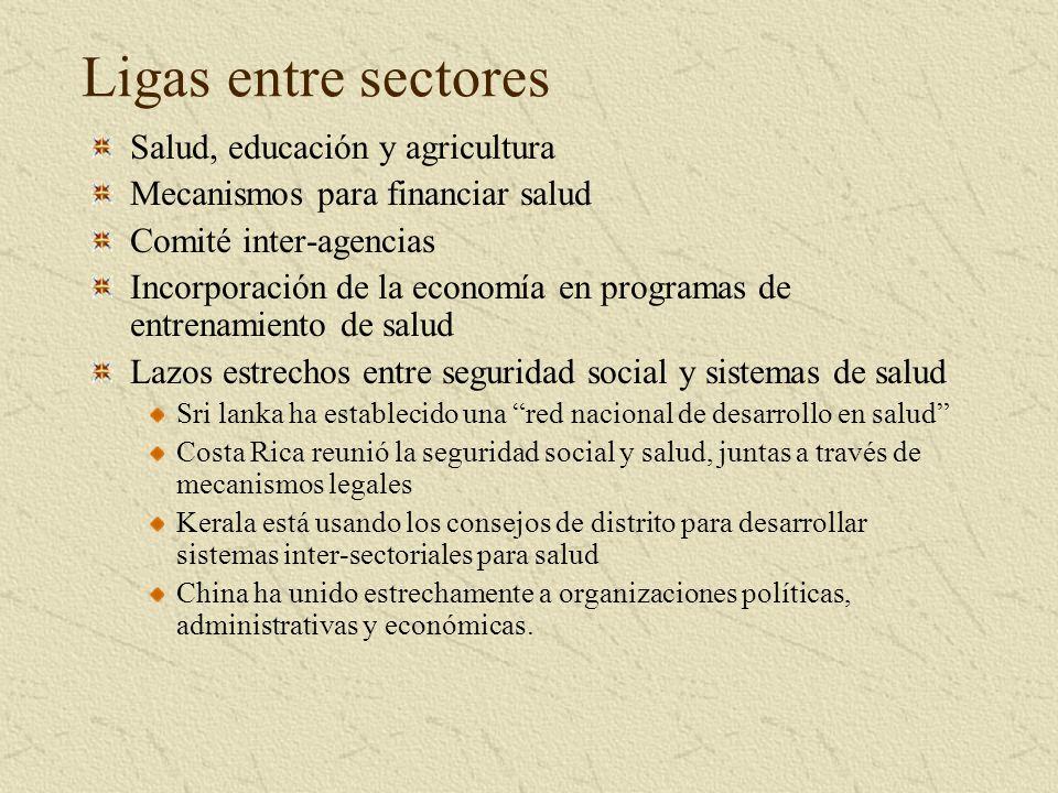 Ligas entre sectores Salud, educación y agricultura Mecanismos para financiar salud Comité inter-agencias Incorporación de la economía en programas de