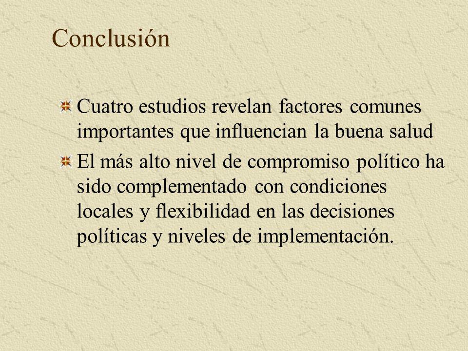Conclusión Cuatro estudios revelan factores comunes importantes que influencian la buena salud El más alto nivel de compromiso político ha sido complementado con condiciones locales y flexibilidad en las decisiones políticas y niveles de implementación.