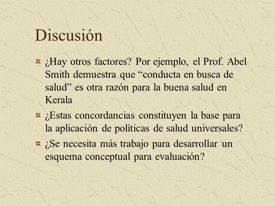 Discusión ¿Hay otros factores? Por ejemplo, el Prof. Abel Smith demuestra que conducta en busca de salud es otra razón para la buena salud en Kerala ¿