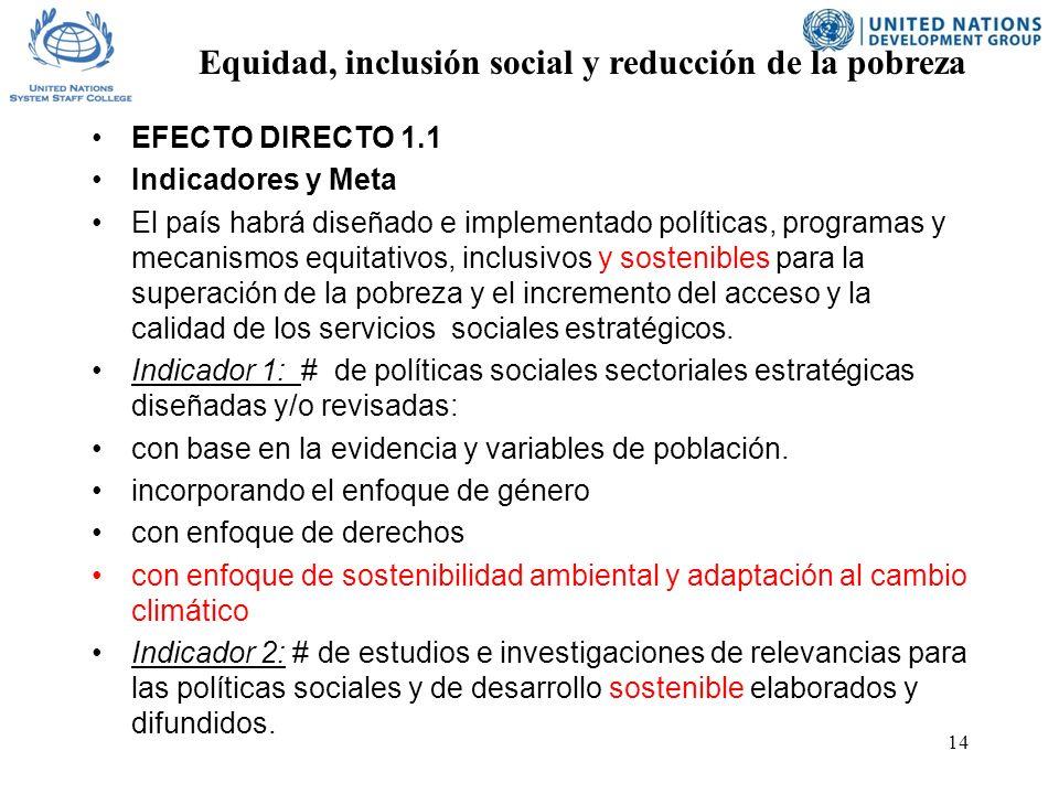 14 EFECTO DIRECTO 1.1 Indicadores y Meta El país habrá diseñado e implementado políticas, programas y mecanismos equitativos, inclusivos y sostenibles para la superación de la pobreza y el incremento del acceso y la calidad de los servicios sociales estratégicos.