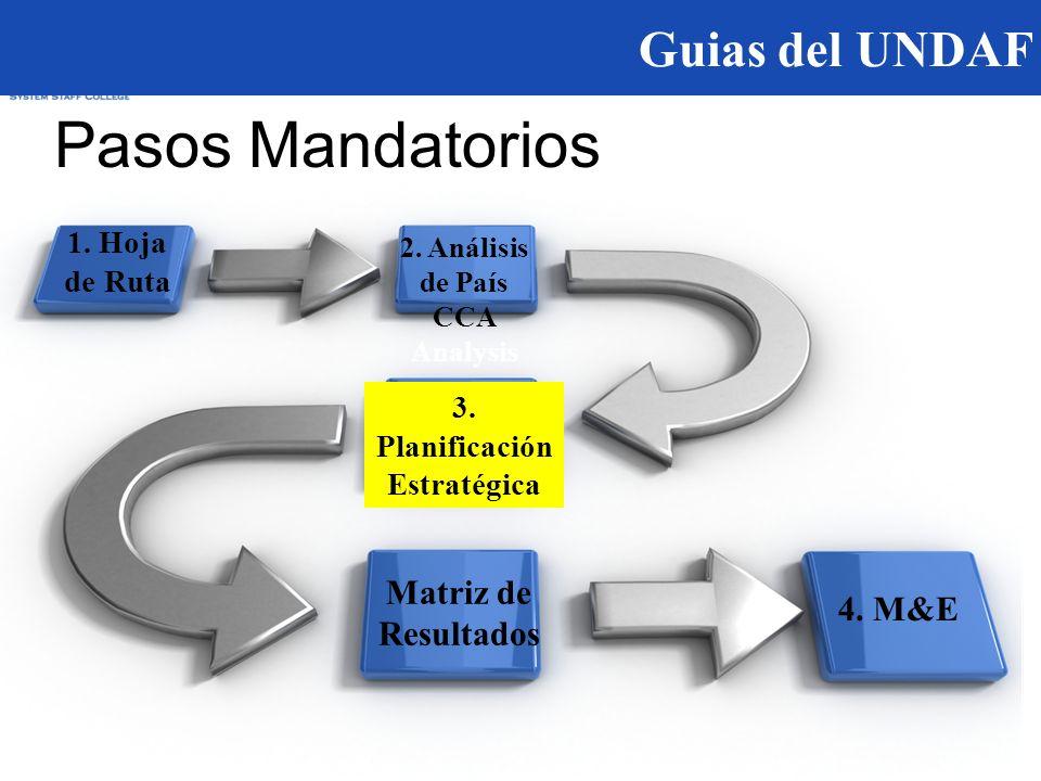 Guias del UNDAF Pasos Mandatorios 1. Hoja de Ruta 2.