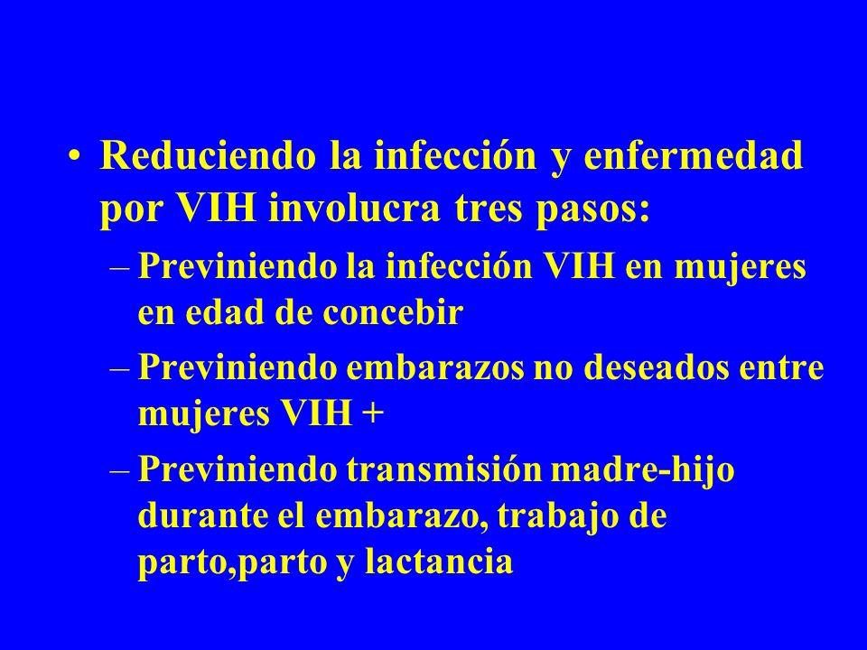 Reduciendo la infección y enfermedad por VIH involucra tres pasos: –Previniendo la infección VIH en mujeres en edad de concebir –Previniendo embarazos