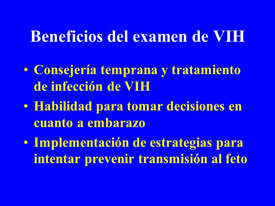 Beneficios del examen de VIH Consejería temprana y tratamiento de infección de VIH Habilidad para tomar decisiones en cuanto a embarazo Implementación