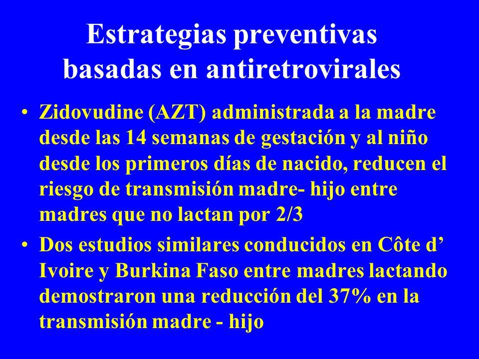 Estrategias preventivas basadas en antiretrovirales Zidovudine (AZT) administrada a la madre desde las 14 semanas de gestación y al niño desde los pri
