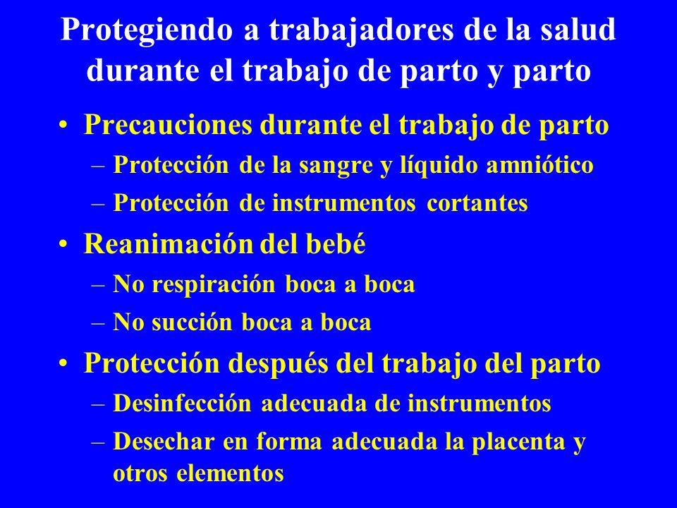 Protegiendo a trabajadores de la salud durante el trabajo de parto y parto Precauciones durante el trabajo de parto –Protección de la sangre y líquido