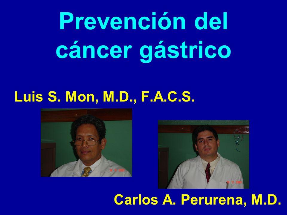 Prevención del cáncer gástrico: Epidemiología En los Estados Unidos la incidencia ha ido disminuyendo.