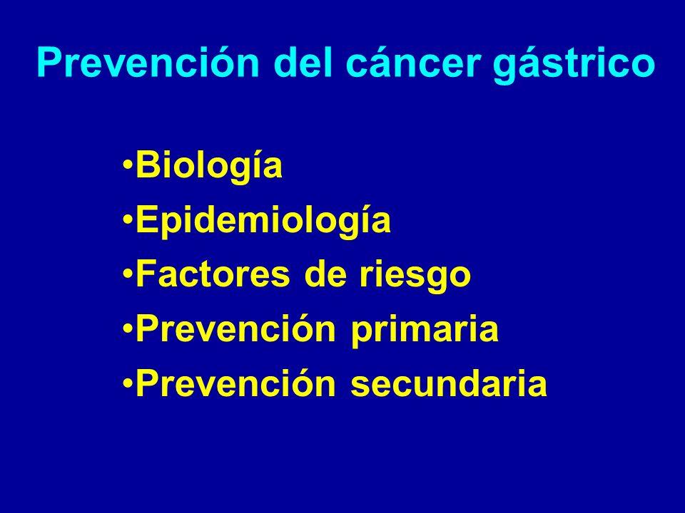Prevención del cáncer gástrico: Gastritis atrófica crónica Gastritis atrófica crónica se piensa que sea el paso inicial en el desarrollo de la mayoría de los cánceres gástricos.