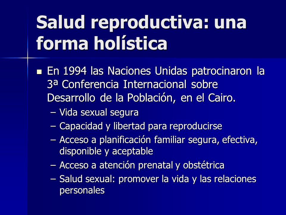 Salud reproductiva: una forma holística En 1994 las Naciones Unidas patrocinaron la 3ª Conferencia Internacional sobre Desarrollo de la Población, en