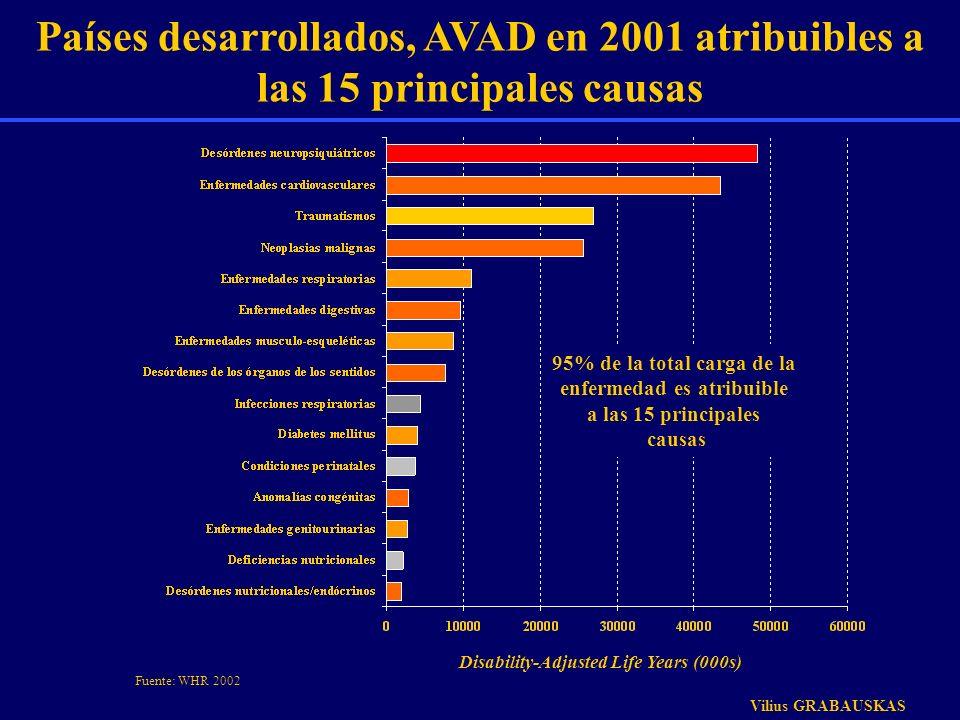 Países desarrollados, AVAD en 2001 atribuibles a las 15 principales causas Disability-Adjusted Life Years (000s) 95% de la total carga de la enfermeda