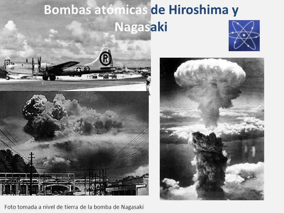 Bombas atómicas de Hiroshima y Nagasaki Foto tomada a nivel de tierra de la bomba de Nagasaki