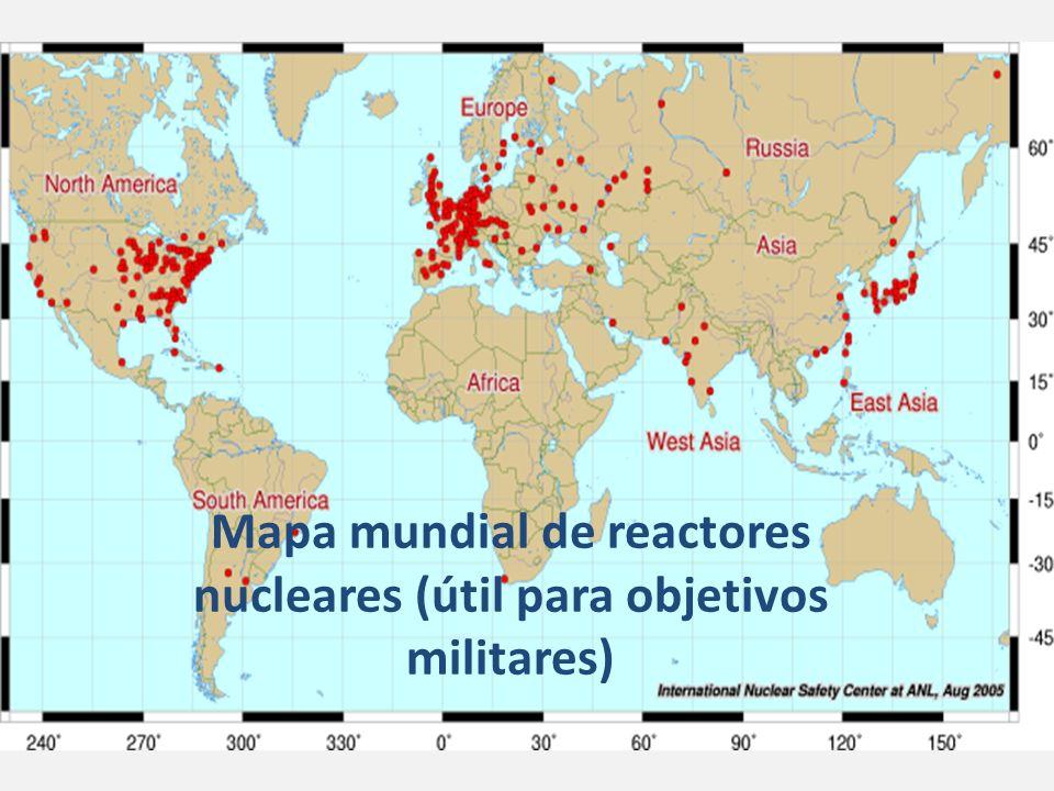 Mapa mundial de reactores nucleares (útil para objetivos militares)
