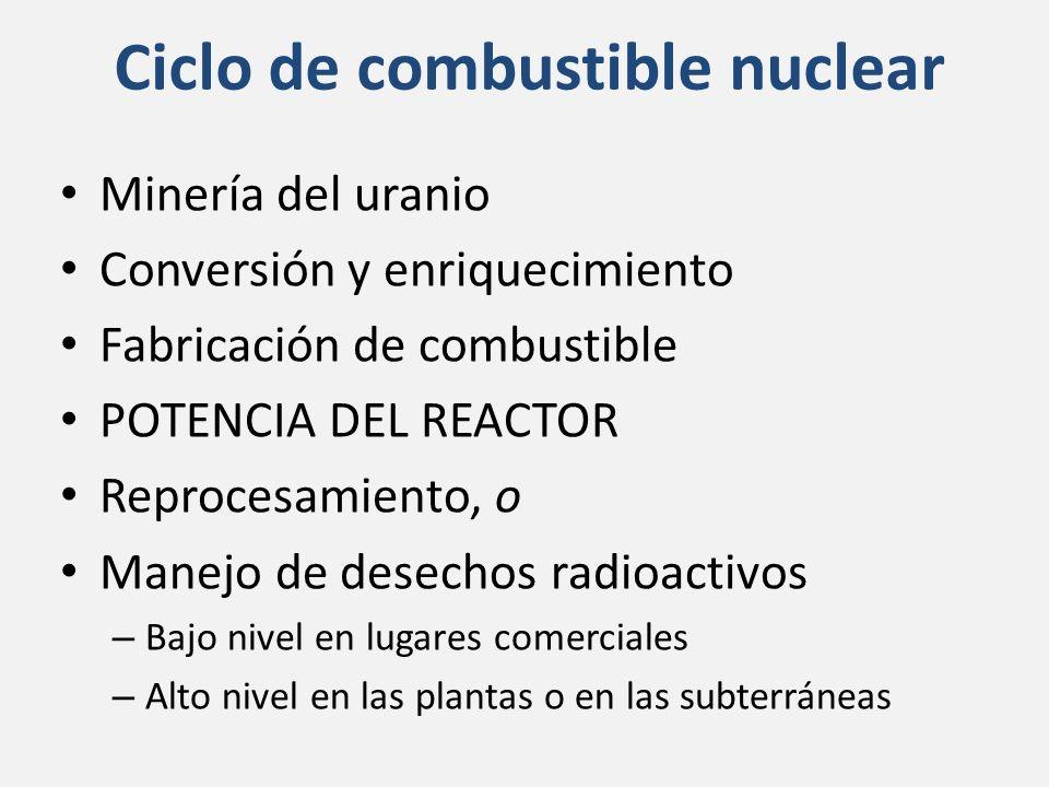 Ciclo de combustible nuclear Minería del uranio Conversión y enriquecimiento Fabricación de combustible POTENCIA DEL REACTOR Reprocesamiento, o Manejo de desechos radioactivos – Bajo nivel en lugares comerciales – Alto nivel en las plantas o en las subterráneas