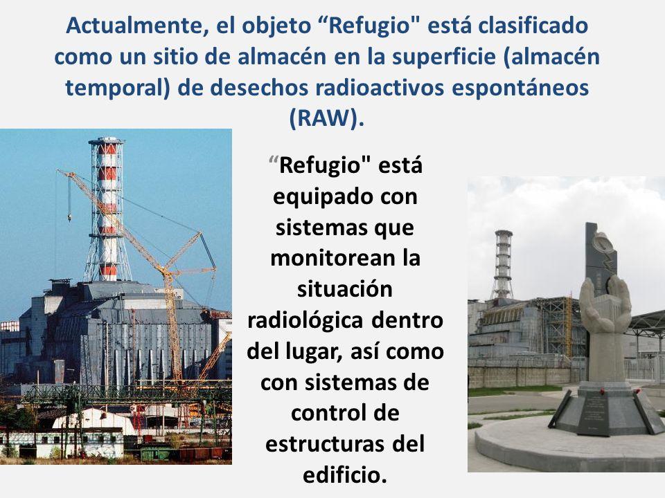 Actualmente, el objeto Refugio está clasificado como un sitio de almacén en la superficie (almacén temporal) de desechos radioactivos espontáneos (RAW).