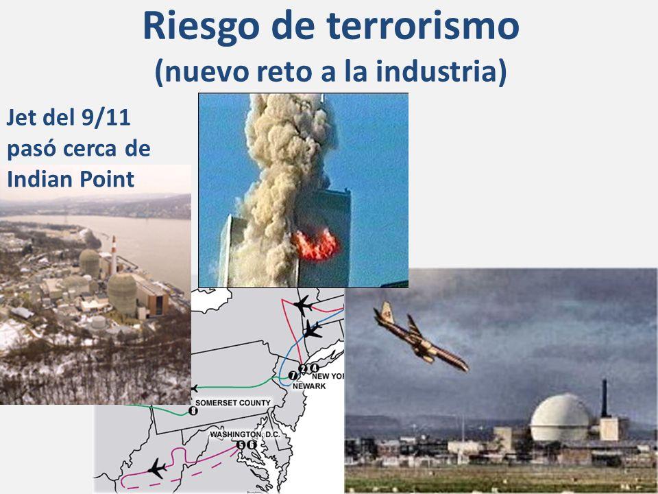 Riesgo de terrorismo (nuevo reto a la industria) Jet del 9/11 pasó cerca de Indian Point