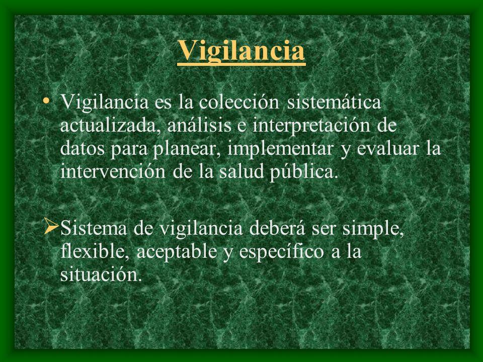 Vigilancia Vigilancia es la colección sistemática actualizada, análisis e interpretación de datos para planear, implementar y evaluar la intervención