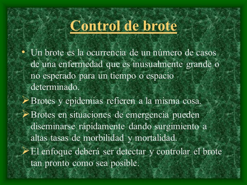 Control de brote Un brote es la ocurrencia de un número de casos de una enfermedad que es inusualmente grande o no esperado para un tiempo o espacio d