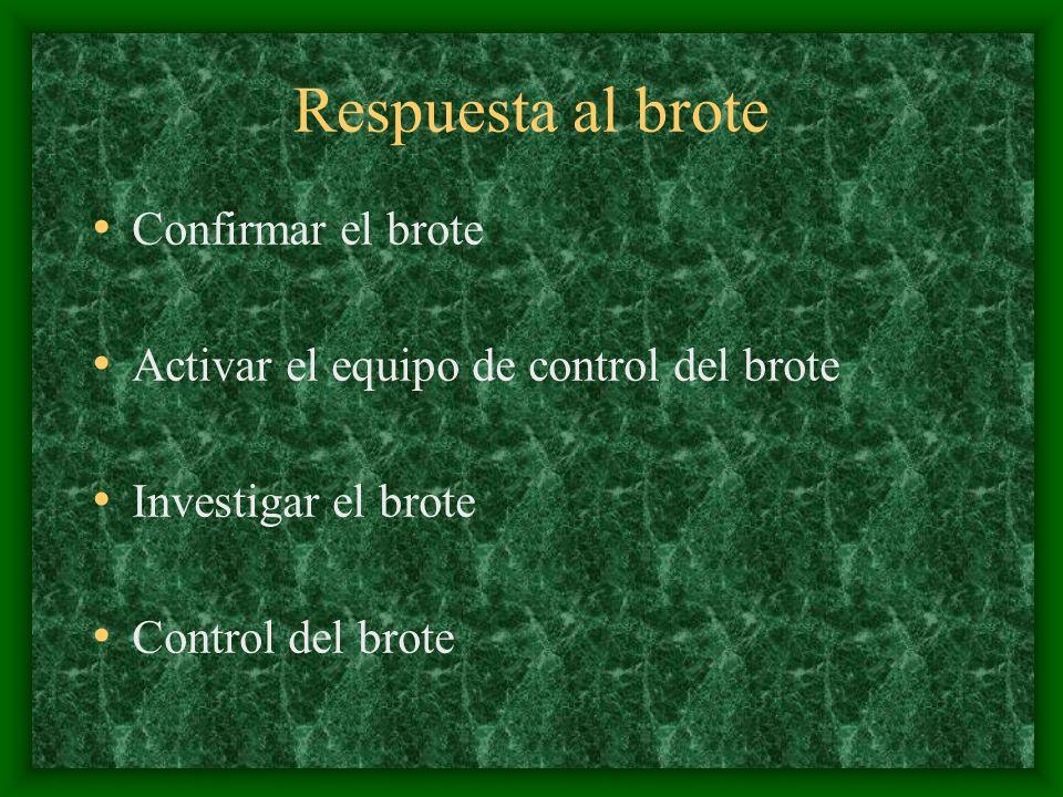 Respuesta al brote Confirmar el brote Activar el equipo de control del brote Investigar el brote Control del brote