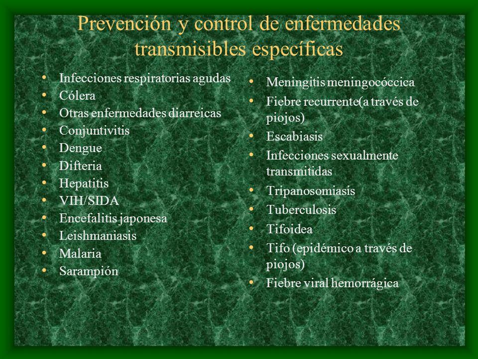 Prevención y control de enfermedades transmisibles específicas Infecciones respiratorias agudas Cólera Otras enfermedades diarreicas Conjuntivitis Den