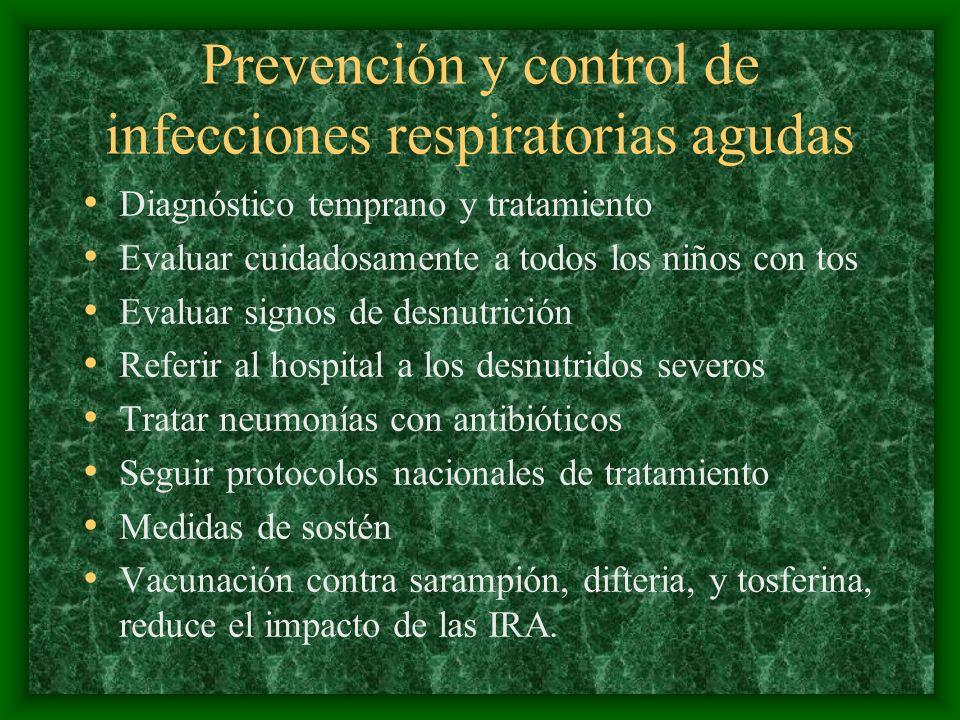 Prevención y control de infecciones respiratorias agudas Diagnóstico temprano y tratamiento Evaluar cuidadosamente a todos los niños con tos Evaluar s