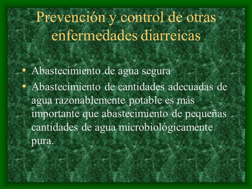 Prevención y control de otras enfermedades diarreicas Abastecimiento de agua segura Abastecimiento de cantidades adecuadas de agua razonablemente pota