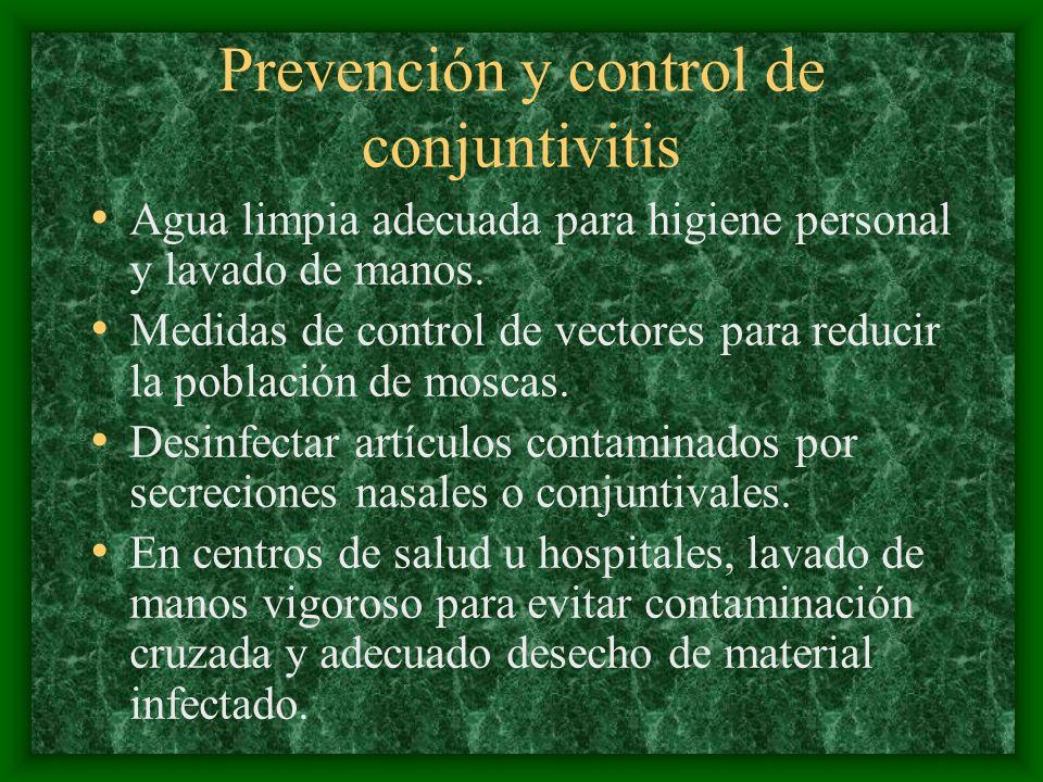 Prevención y control de conjuntivitis Agua limpia adecuada para higiene personal y lavado de manos. Medidas de control de vectores para reducir la pob