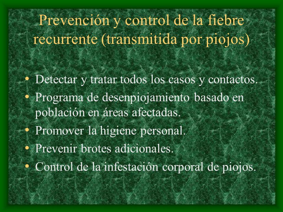 Prevención y control de la fiebre recurrente (transmitida por piojos) Detectar y tratar todos los casos y contactos. Programa de desenpiojamiento basa
