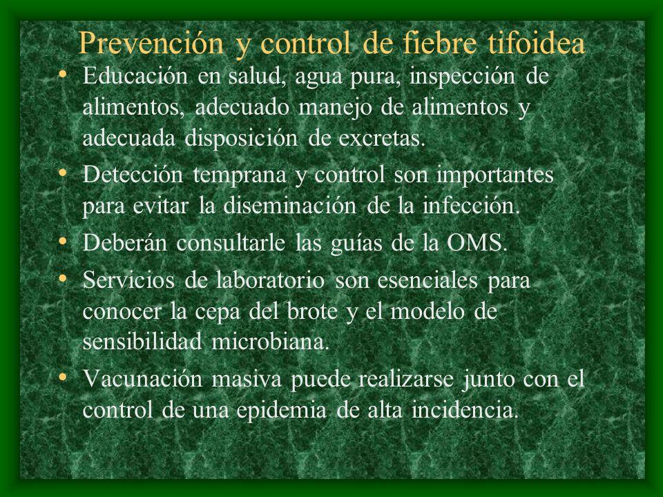 Prevención y control de fiebre tifoidea Educación en salud, agua pura, inspección de alimentos, adecuado manejo de alimentos y adecuada disposición de