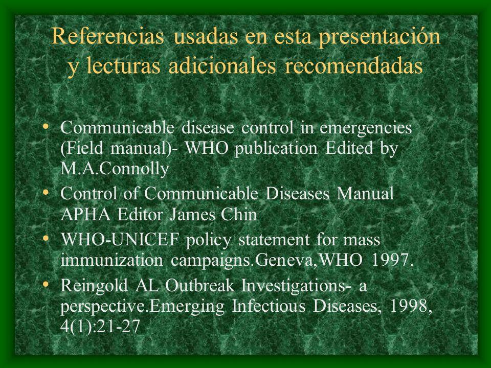 Referencias usadas en esta presentación y lecturas adicionales recomendadas Communicable disease control in emergencies (Field manual)- WHO publicatio