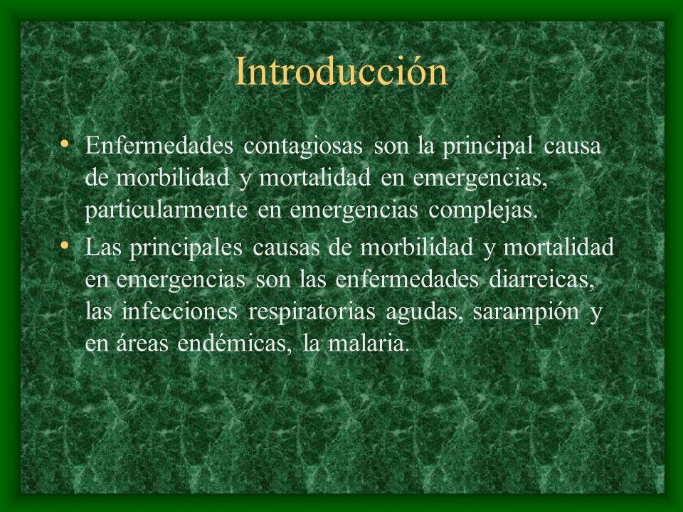 Introducción Otras enfermedades transmisibles que también han causado epidemias en el pasado en poblaciones afectadas por emergencias, fue la enfermedad por meningococo, tuberculosis, fiebre recidivante y tifo.
