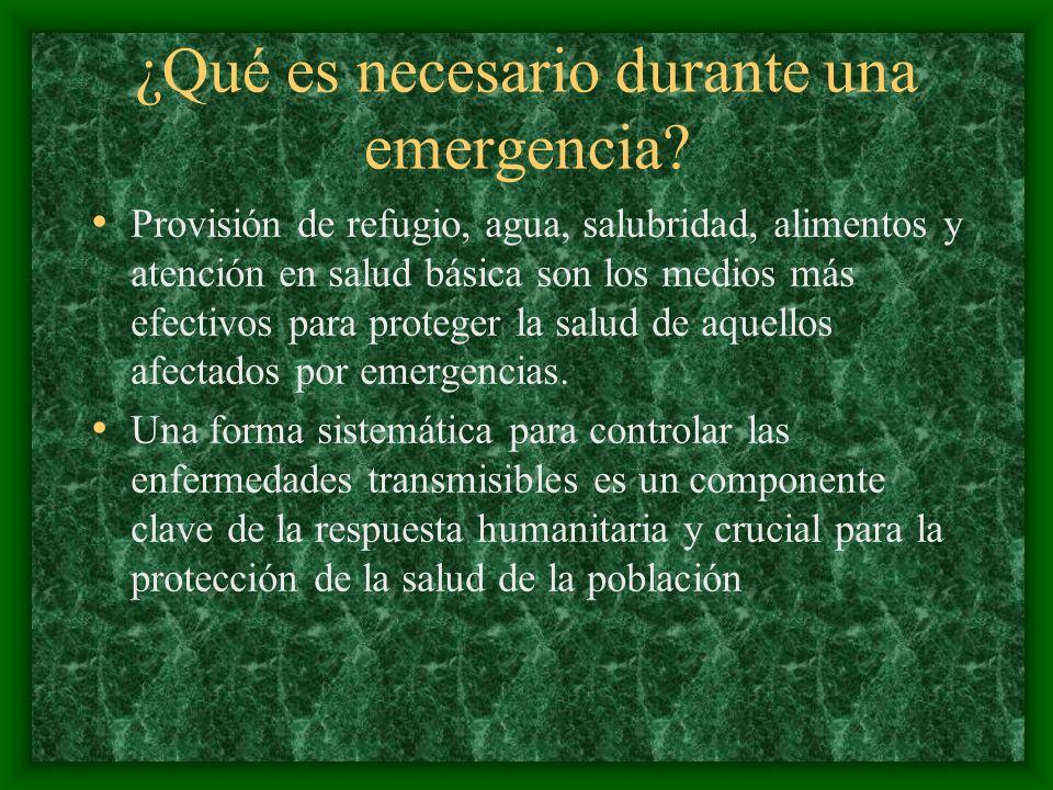 ¿Qué es necesario durante una emergencia? Provisión de refugio, agua, salubridad, alimentos y atención en salud básica son los medios más efectivos pa