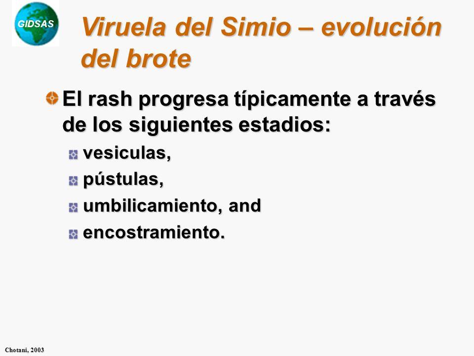 GIDSAS Chotani, 2003 El rash progresa típicamente a través de los siguientes estadios: vesiculas,pústulas, umbilicamiento, and encostramiento. Viruela