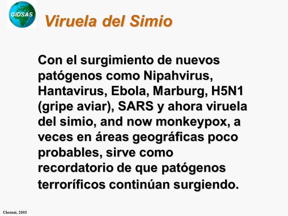 GIDSAS Chotani, 2003 Viruela del Simio Con el surgimiento de nuevos patógenos como Nipahvirus, Hantavirus, Ebola, Marburg, H5N1 (gripe aviar), SARS y