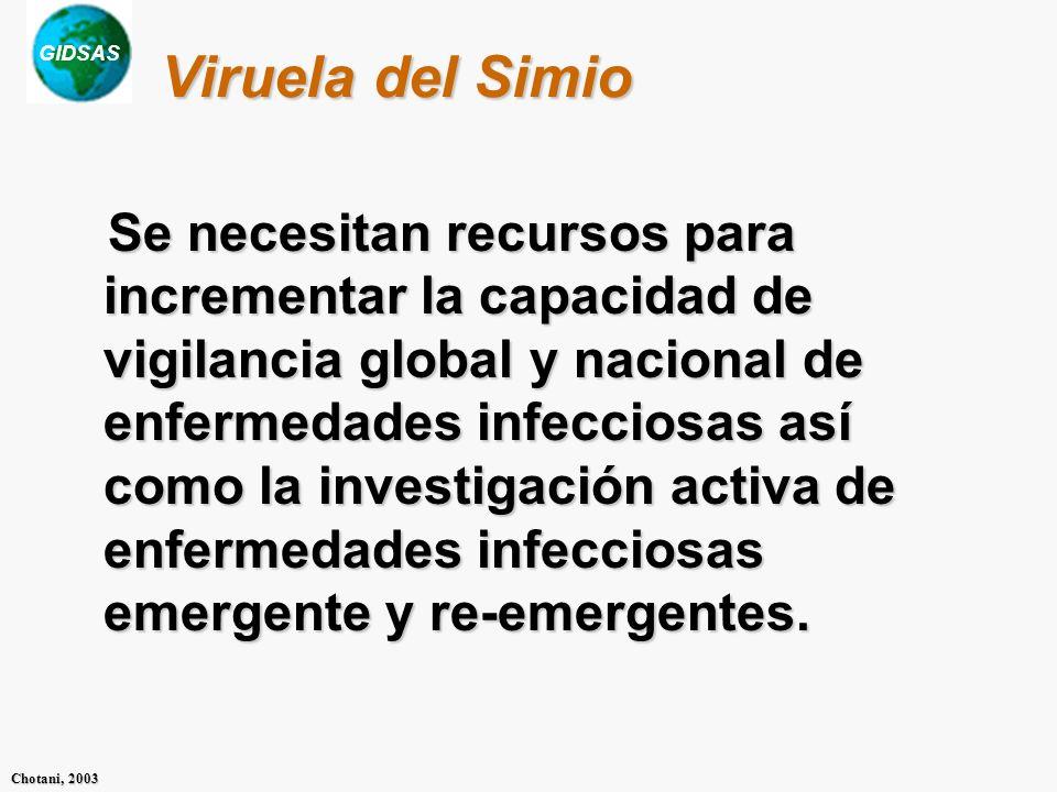GIDSAS Chotani, 2003 Viruela del Simio Se necesitan recursos para incrementar la capacidad de vigilancia global y nacional de enfermedades infecciosas