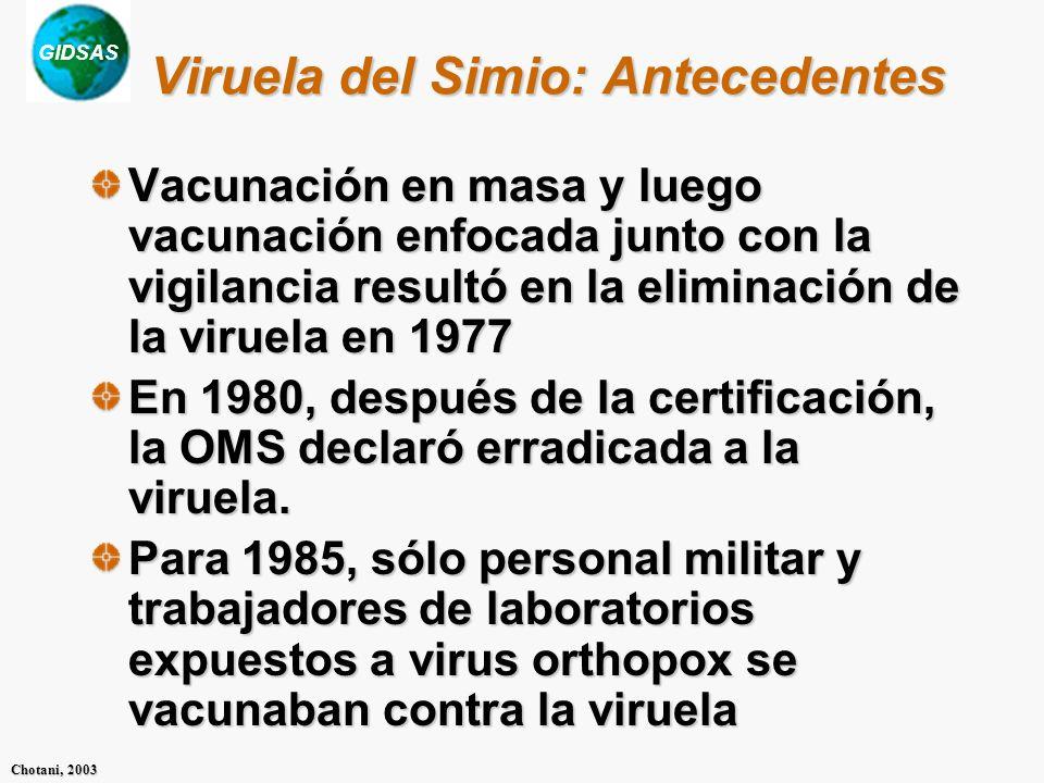 GIDSAS Chotani, 2003 Viruela del Simio: Antecedentes Vacunación en masa y luego vacunación enfocada junto con la vigilancia resultó en la eliminación