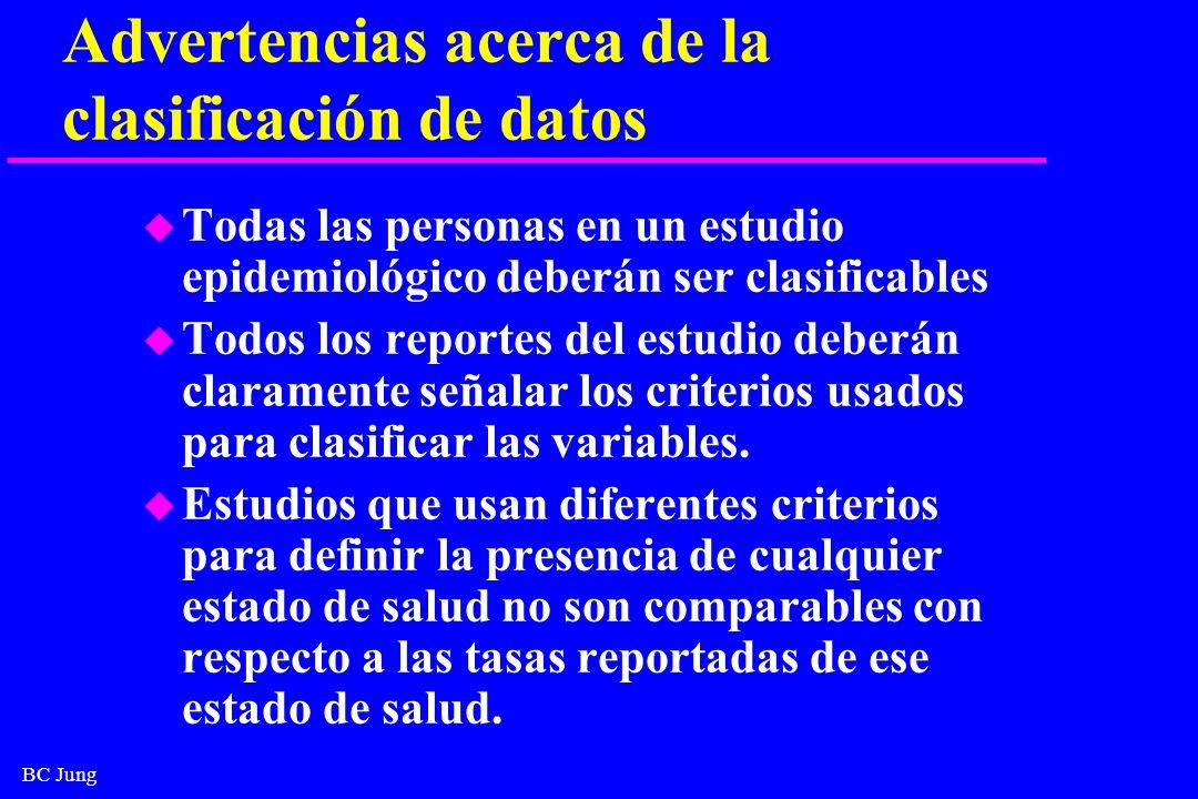 BC Jung Advertencias acerca de la clasificación de datos u Todas las personas en un estudio epidemiológico deberán ser clasificables u Todos los repor