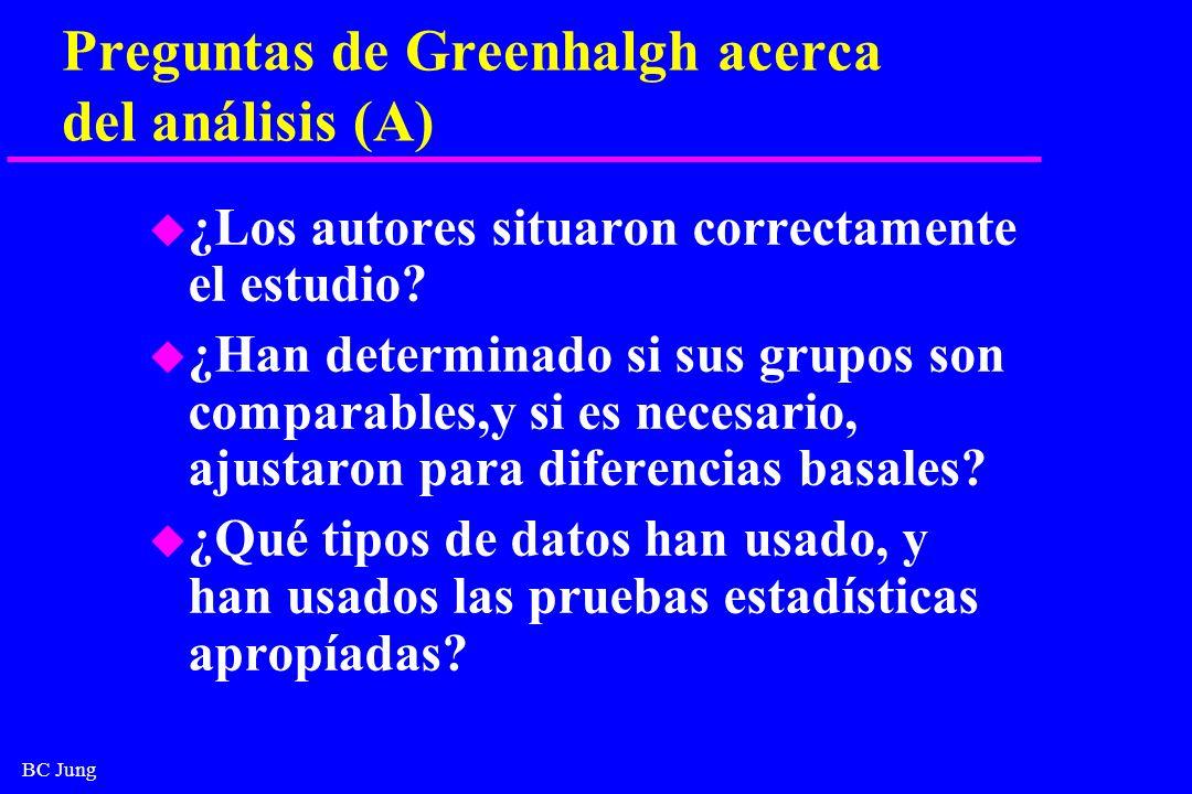 BC Jung Preguntas de Greenhalgh acerca del análisis (A) u ¿Los autores situaron correctamente el estudio? u ¿Han determinado si sus grupos son compara