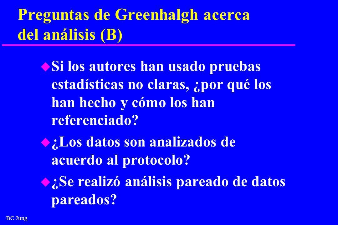 BC Jung Preguntas de Greenhalgh acerca del análisis (B) u Si los autores han usado pruebas estadísticas no claras, ¿por qué los han hecho y cómo los h