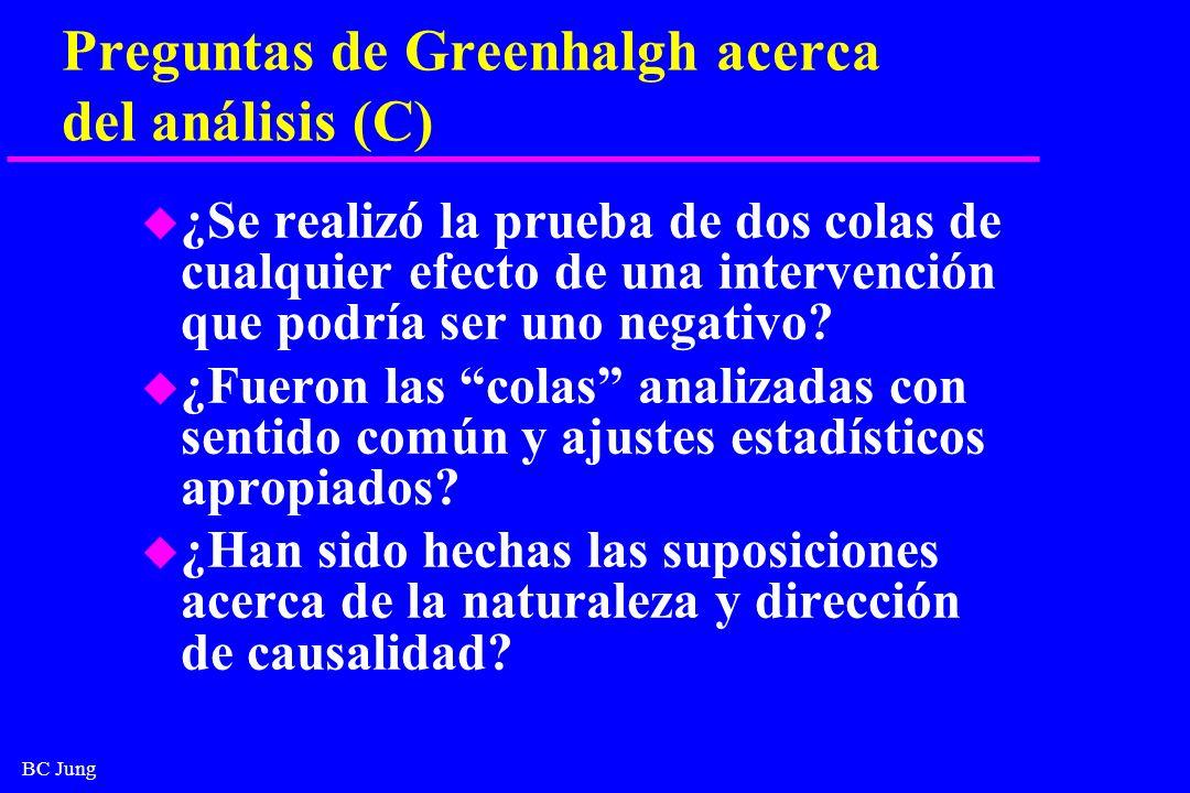 BC Jung Preguntas de Greenhalgh acerca del análisis (C) u ¿Se realizó la prueba de dos colas de cualquier efecto de una intervención que podría ser un
