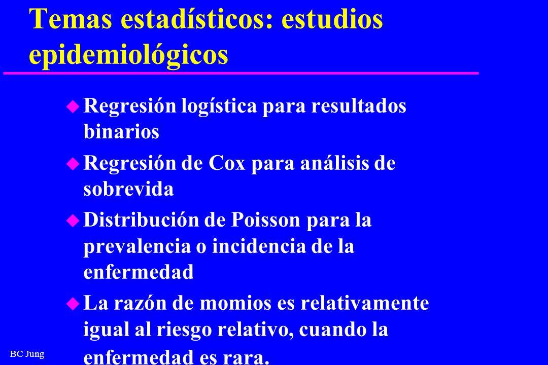 BC Jung Temas estadísticos: estudios epidemiológicos u Regresión logística para resultados binarios u Regresión de Cox para análisis de sobrevida u Di