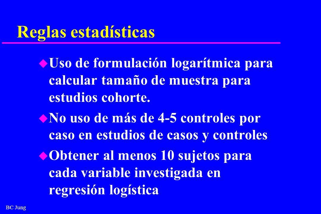 BC Jung Reglas estadísticas u Uso de formulación logarítmica para calcular tamaño de muestra para estudios cohorte. u No uso de más de 4-5 controles p