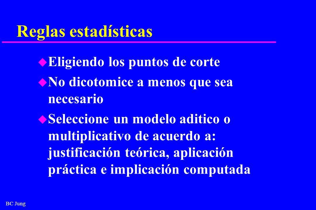BC Jung Reglas estadísticas u Eligiendo los puntos de corte u No dicotomice a menos que sea necesario u Seleccione un modelo aditico o multiplicativo